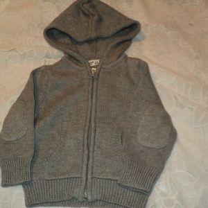 NEW Ruum Baby 3-6 Mos Cardigan Hoodie Sweater Gray